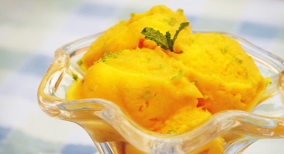 foto da receita Sorvete de manga com limão