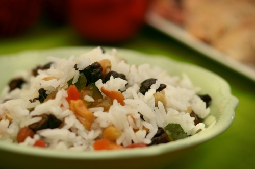 foto da receita Arroz com cenoura, castanhas e passas