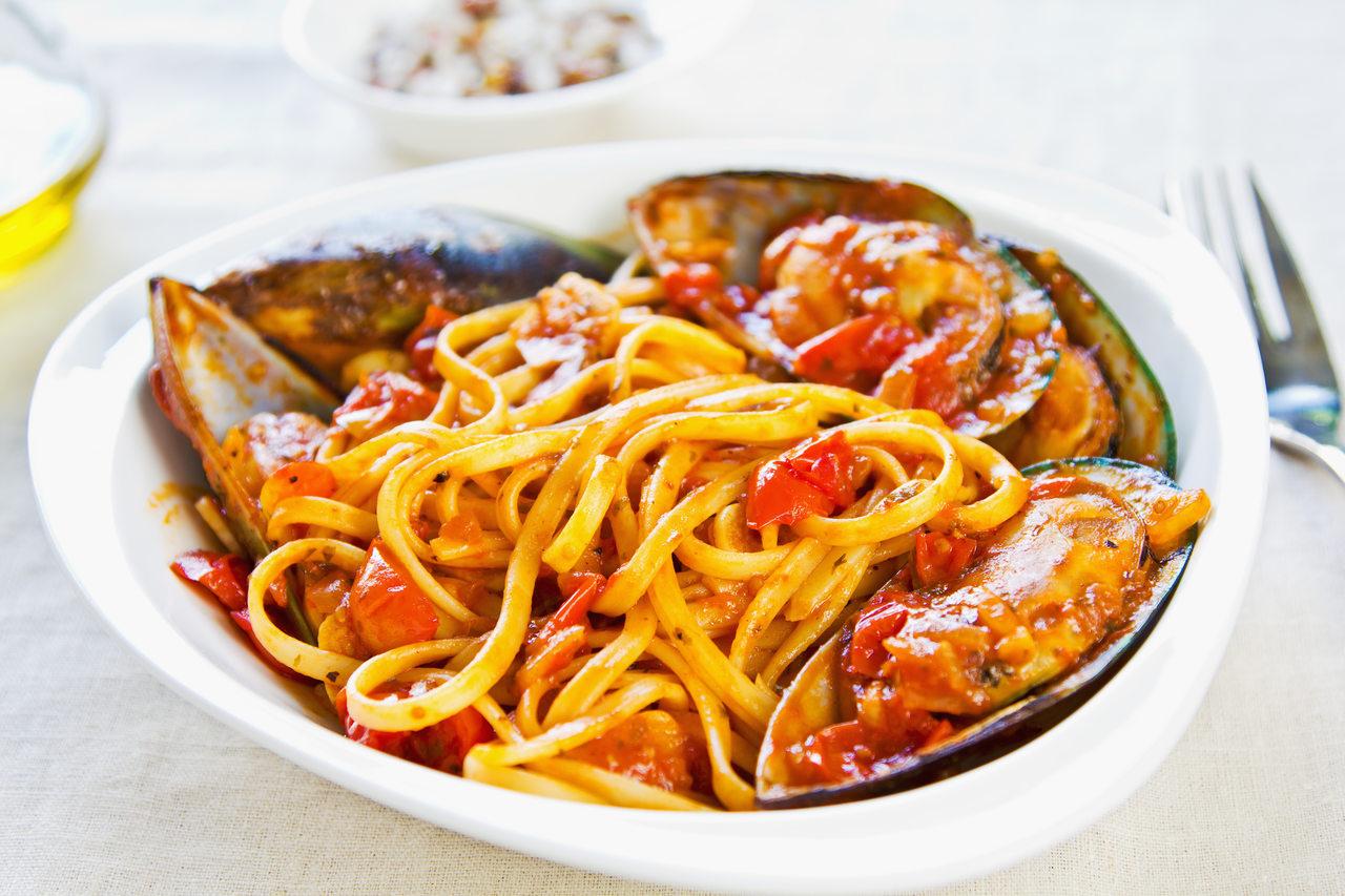 foto da receita Macarrão espaguete com frutos do mar