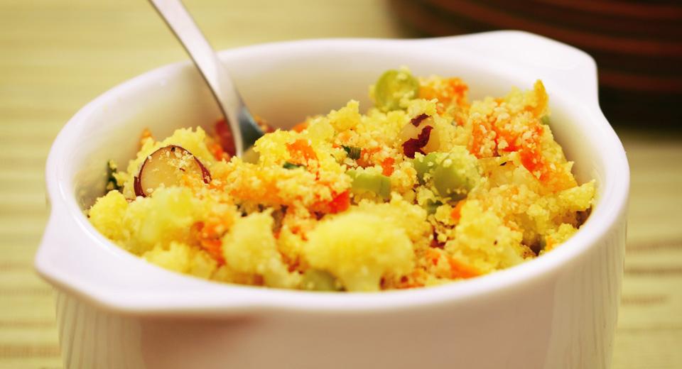 foto da receita Farofa de legumes com castanha do pará