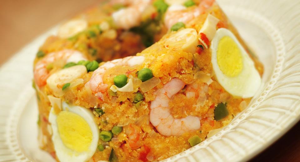 foto da receita Cuscuz paulista com camarão