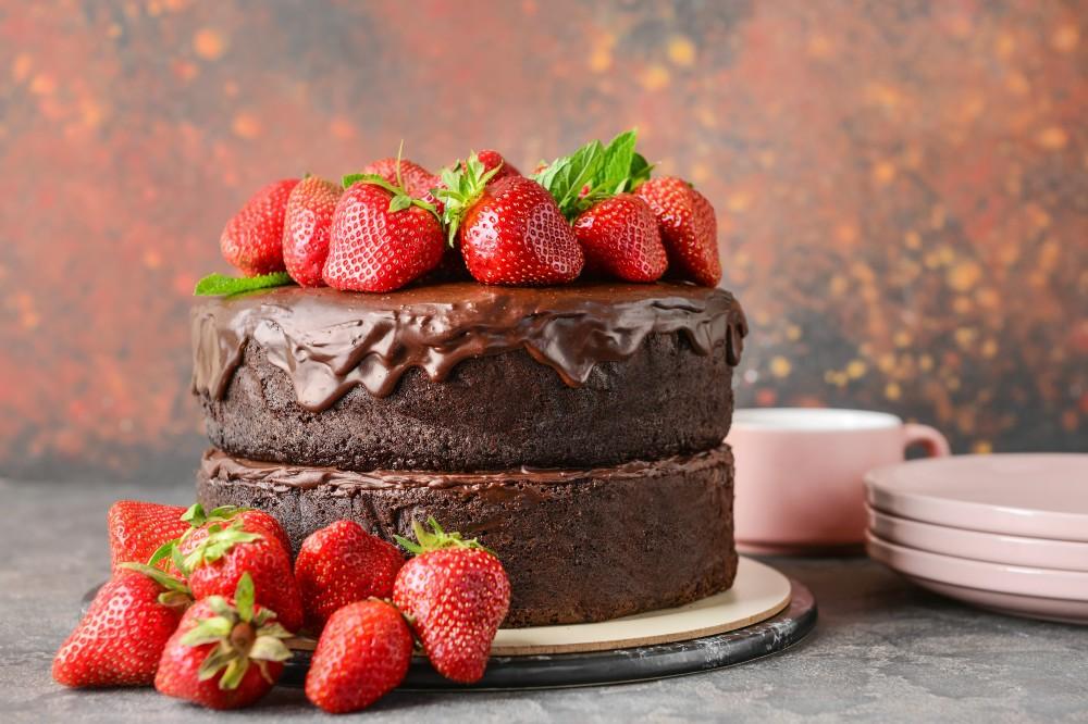 foto da receita Bolo de chocolate com morango