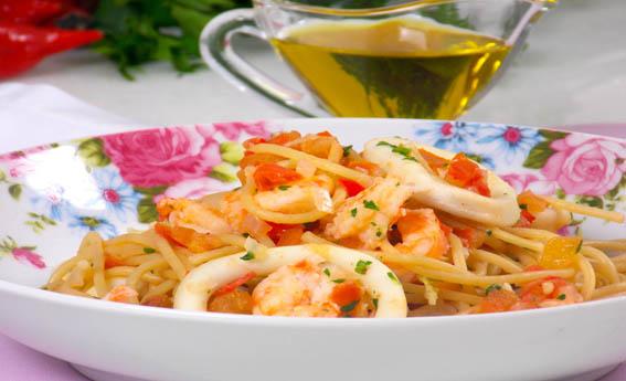 foto da receita Espaguete com frutos do mar