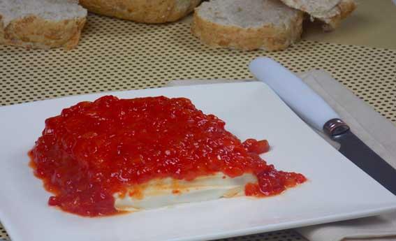 Cream cheese com geleia de pimentão