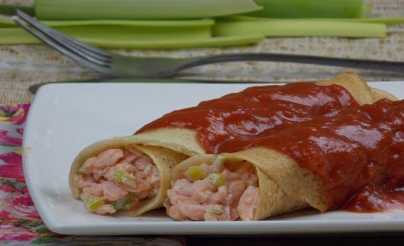 foto da receita Panqueca de mix de cereais com recheio de salmão