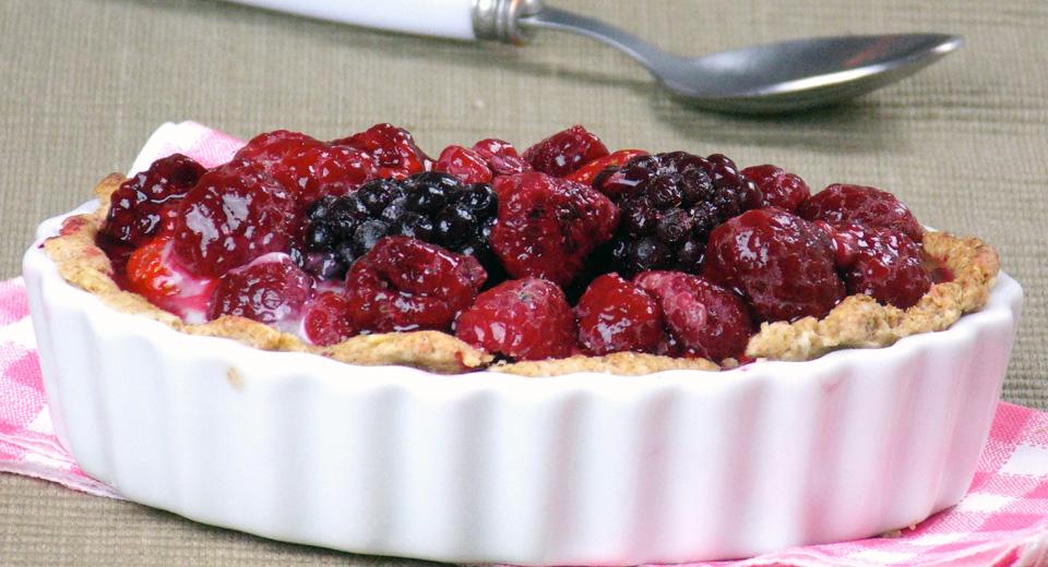 foto da receita Torta integral de frutas vermelhas