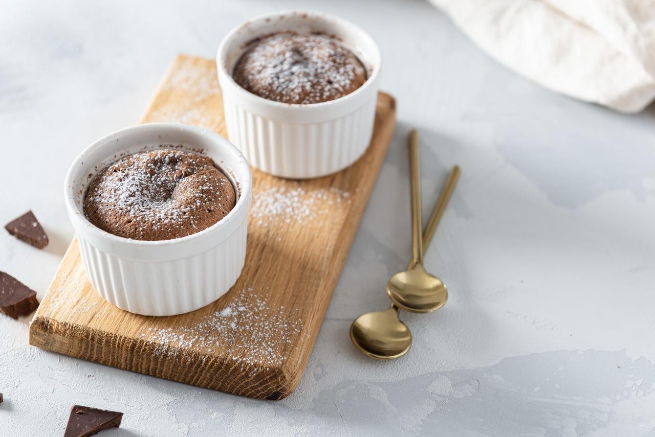 foto da receita Suflê de chocolate e pêra