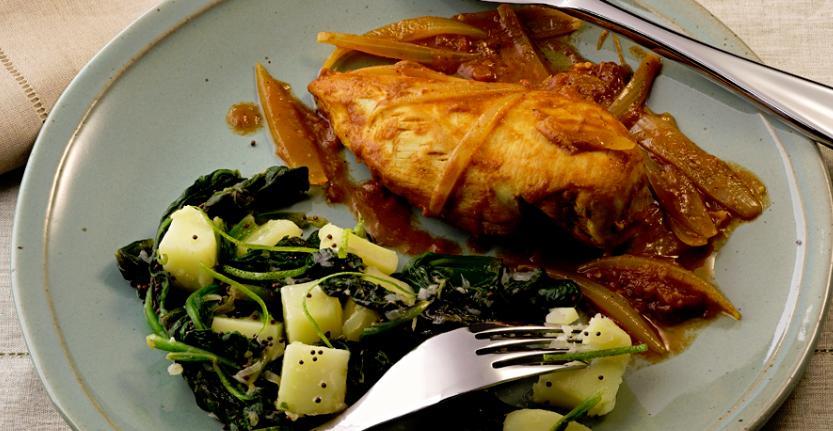 foto da receita Frango com batata e espinafre