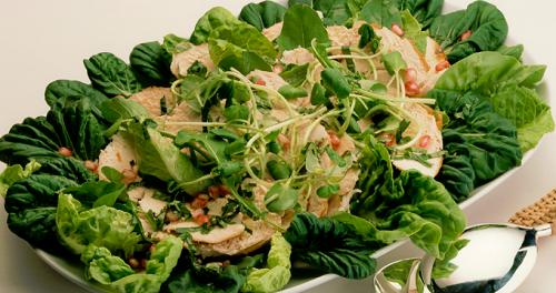 foto da receita Salada de peito de frango com folhas e molho de romã